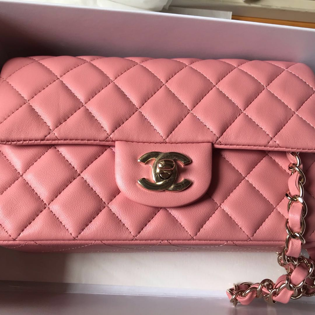 a859e93603eb Chanel flap, mini rectangular, light pink, lamb skin, champagne gold  hardware, Luxury, Bags & Wallets, Handbags on Carousell
