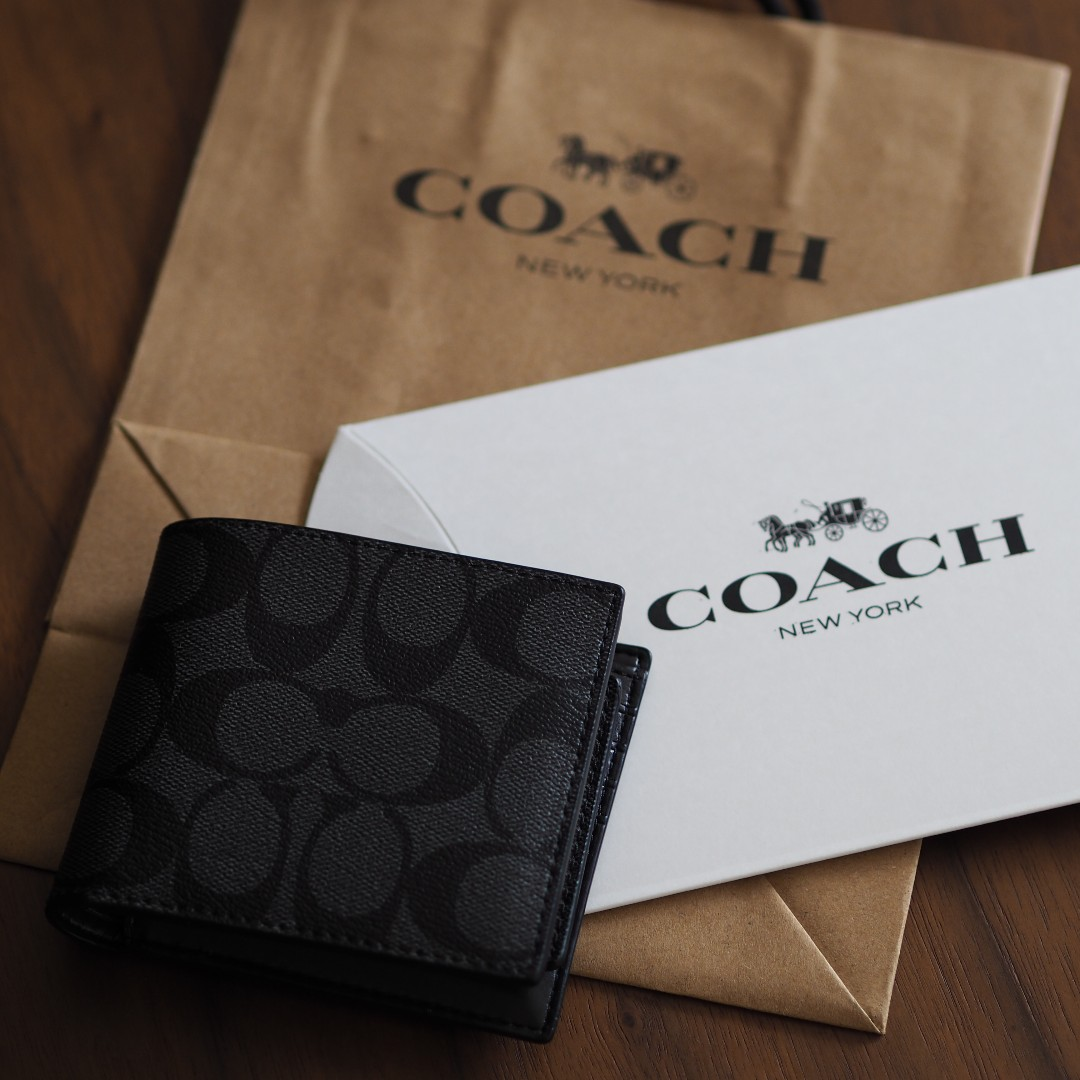 65a7d0706a38 COACH  Compact Id Wallet in Signature Canvas (Charcoal)