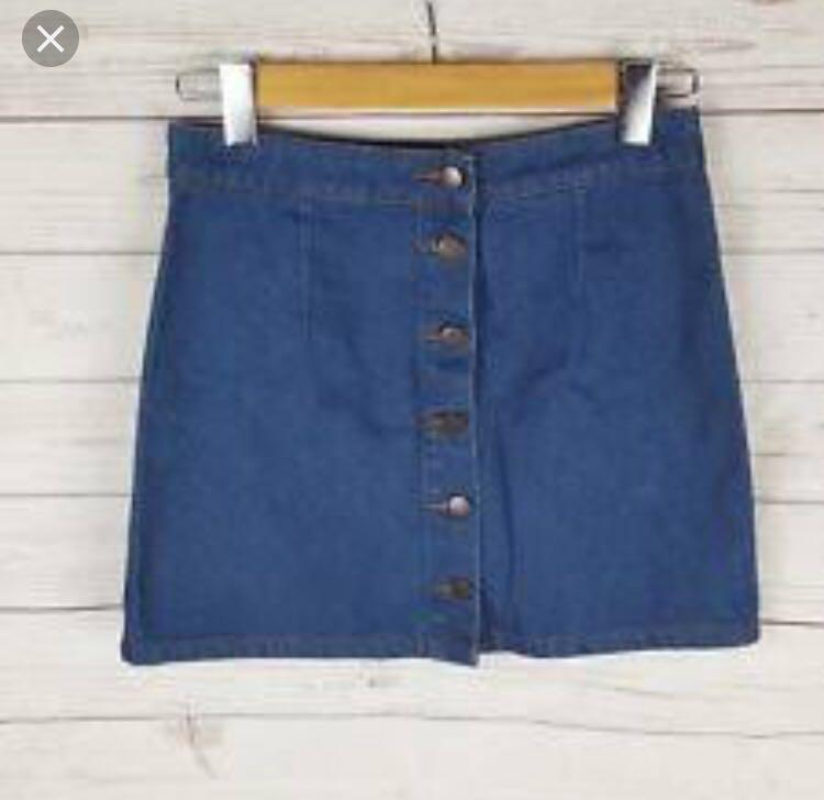 Dotti Denim Button Down Mini Skirt