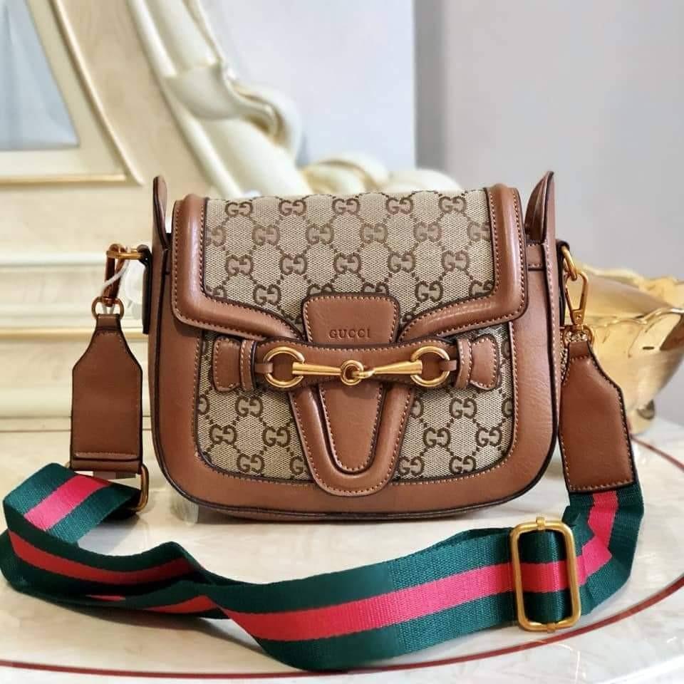 6bb99bdf307 Gucci Classic GG Monogram Canvas Lady Web Crossbody Bag