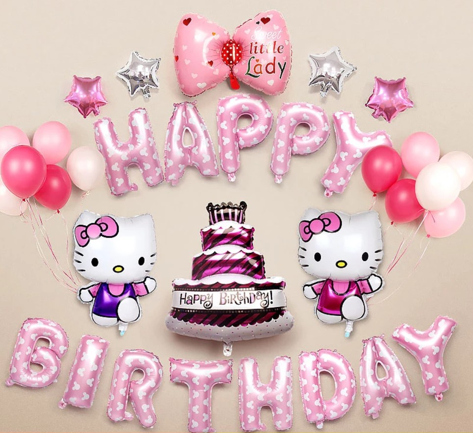 Hello Kitty Happy Birthday Balloons Design Craft Others On Carousell