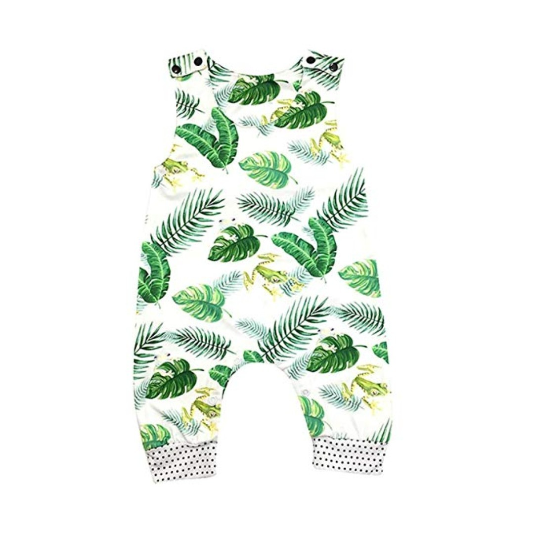 f7f20f37f898 🌟INSTOCK🌟 Tropical Green Palm Leaves Graphic White Sleeveless ...
