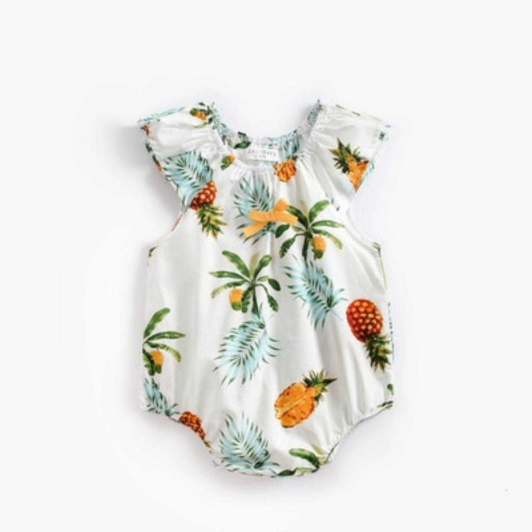 c29ae2c77450 🌟INSTOCK🌟 Tropical Pineapple Fruit Stretchy Collar Overall Onesie ...