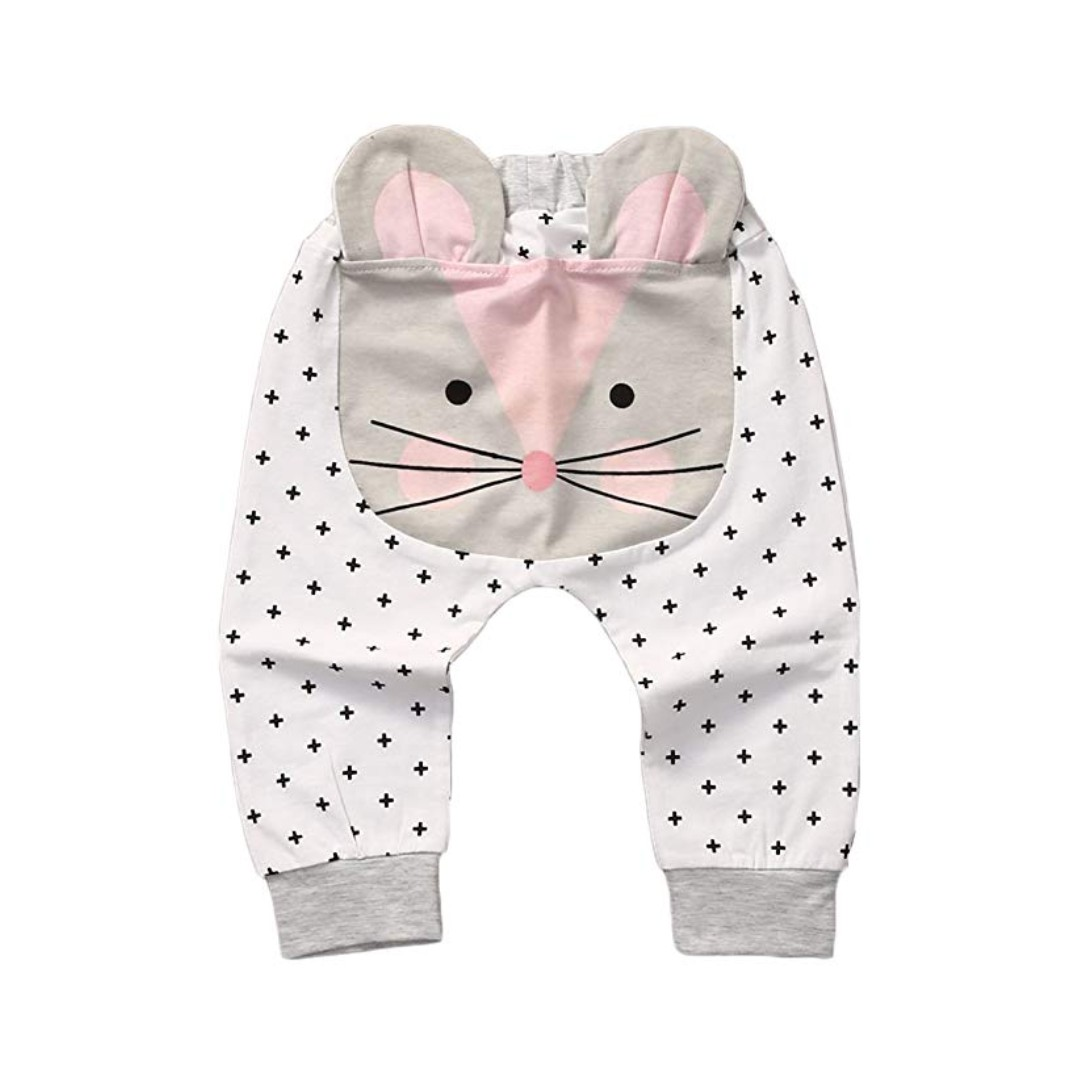 5774659aa3a 🌟INSTOCK🌟 White Polka Kitty Cat Grey Legging Pants for Newborn Baby  Toddler Girls Kids Children Clothes