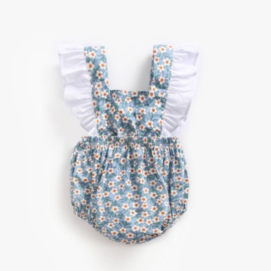 fb15b8e5dc4 🌟INSTOCK🌟 White Ruffle on Blue Floral Cross Back Overall Onesie ...