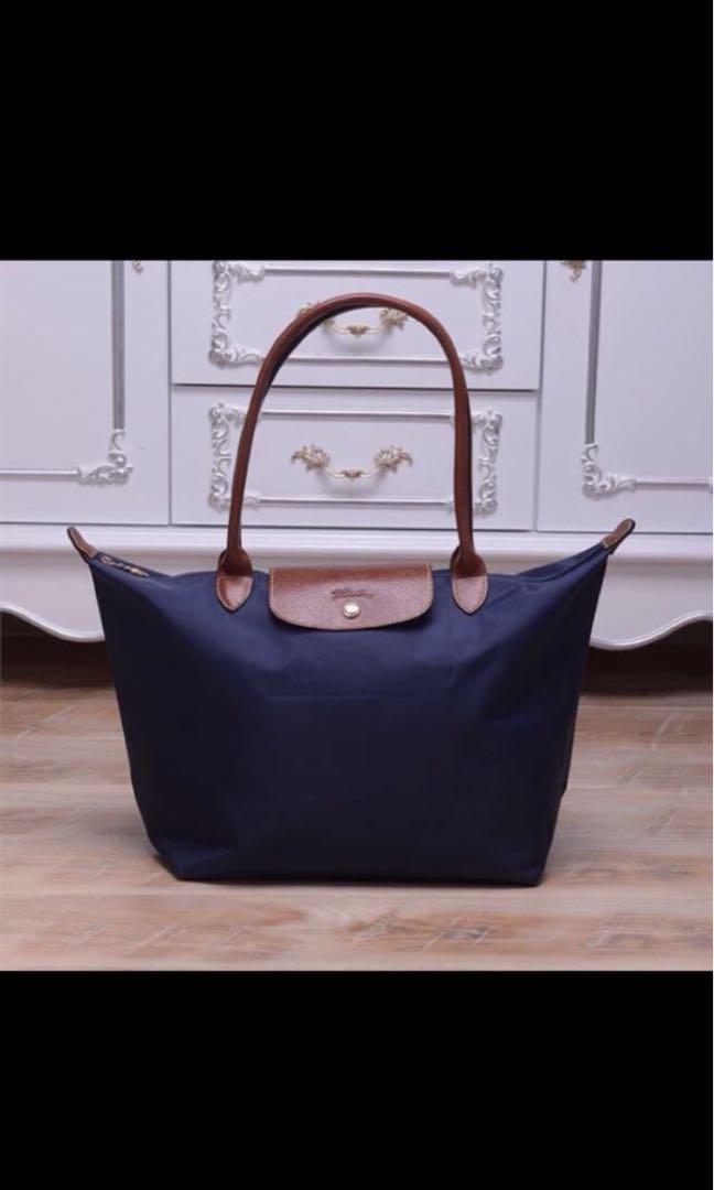 Longchamp Le Pliage Classic 2605 medium navy blue long handle tote ... bbbfaa0bdd