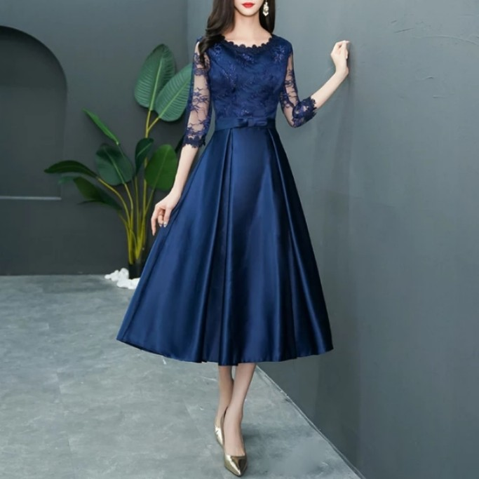 9903a2a8ec50 Navy elegant mid length Dress   evening gown