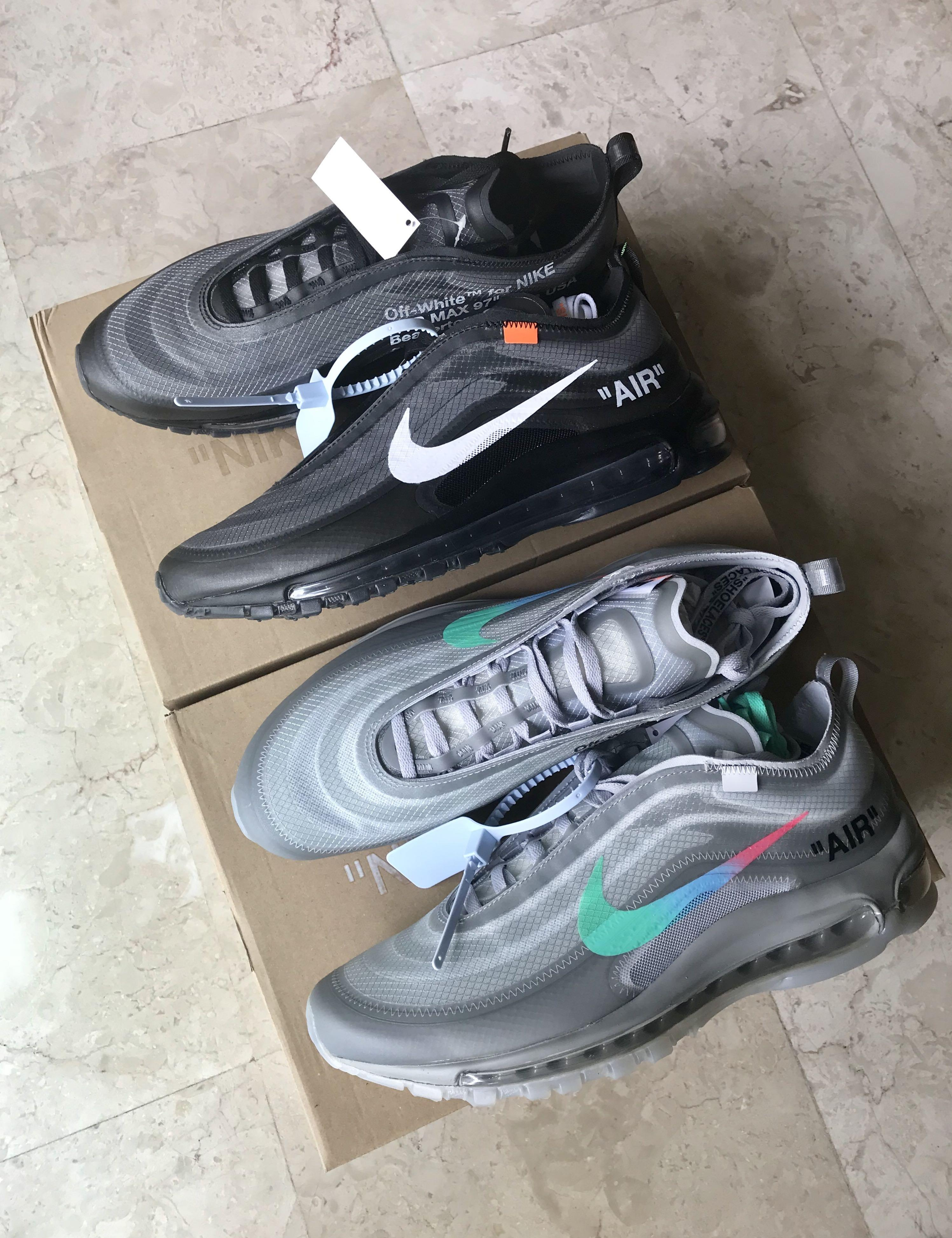 "Off White Nike Air Max 97 ""Menta"" and ""Black"", Men's Fashion"