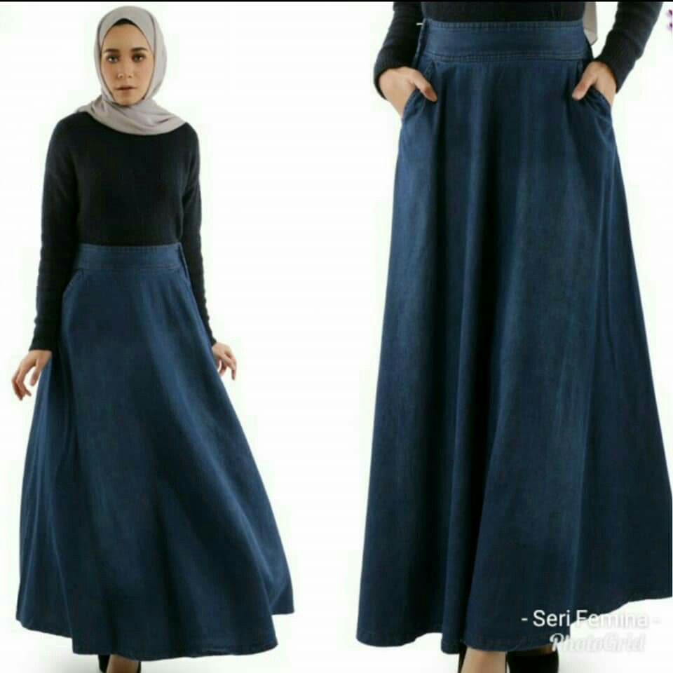 796f69bae5 PLUS SIZE DENIM FLARE SKIRT - instock limited