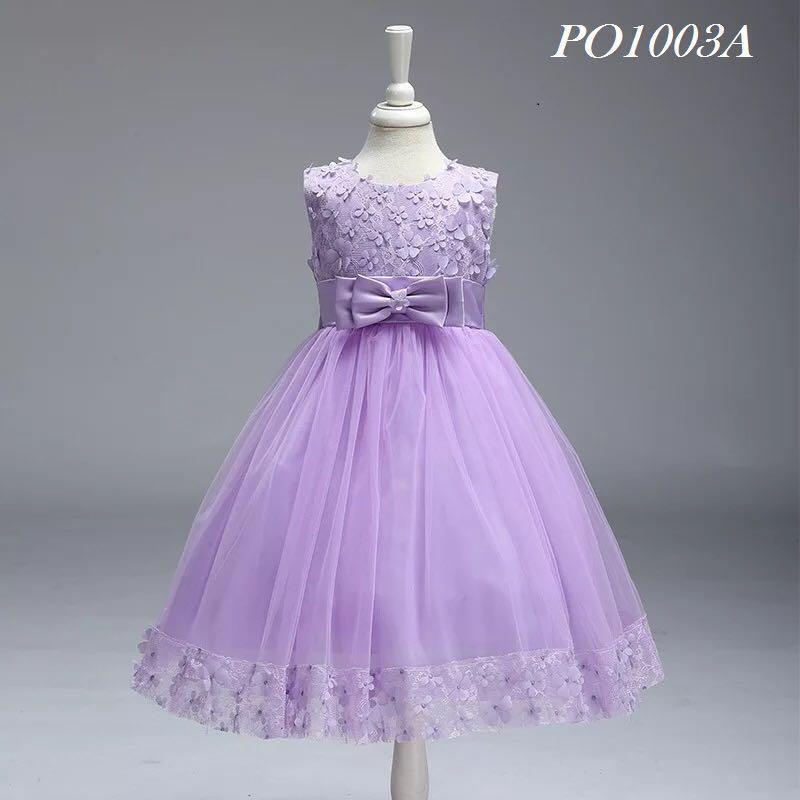 Purple Colour Flower Girl Dress