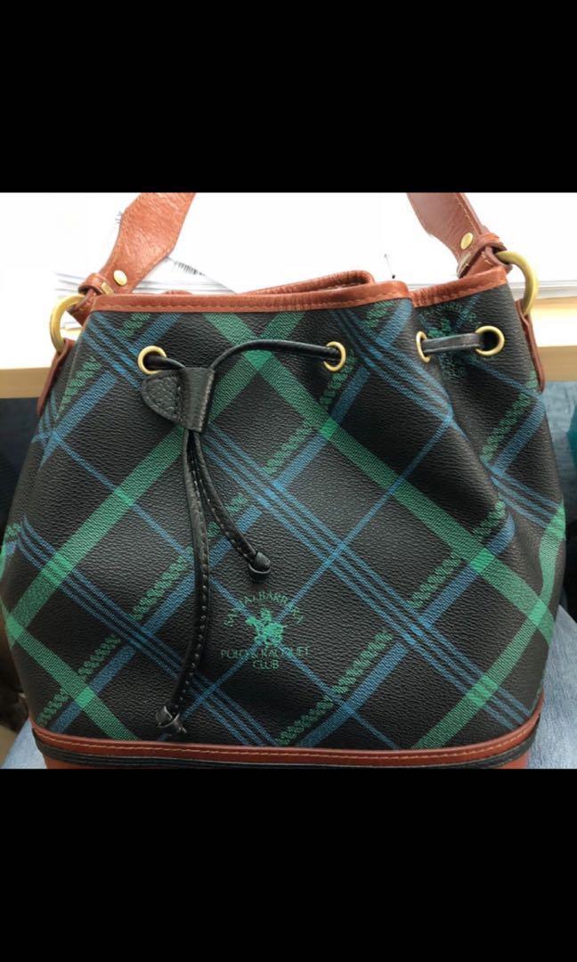 331717628584 Santa Barbara Polo   Racquet club signature print Bucket Bag ...