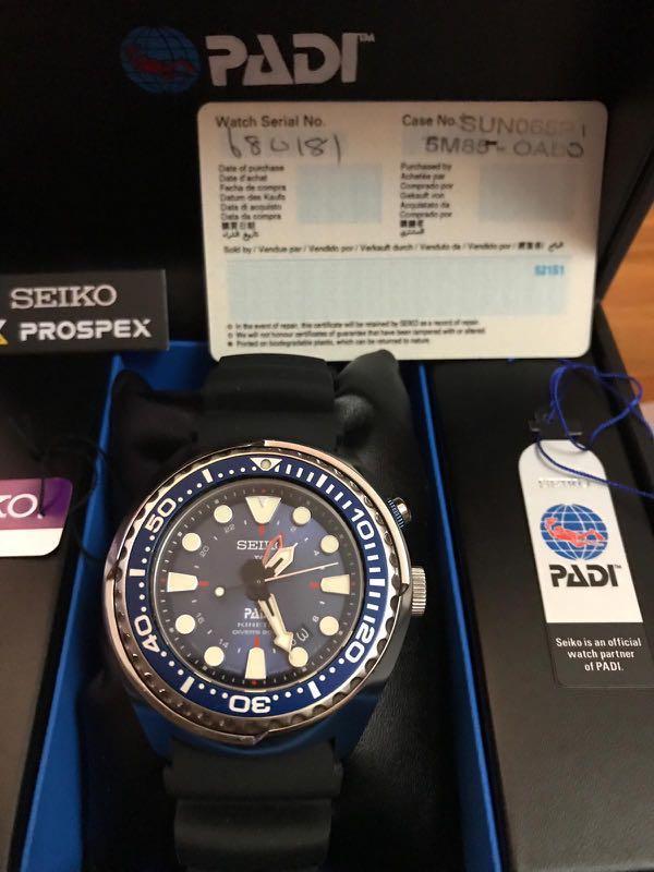 Seiko Men S Watch Prospex Kinetic Gmt Diver S Padi Edition Sun065