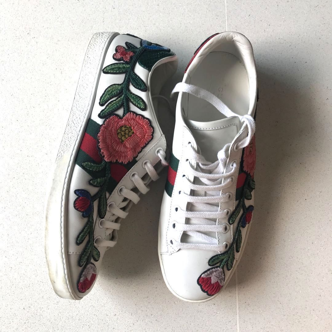 1bf08379da5 SOLD) Gucci Ace Embroided Floral Sneakers 38