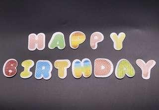 $3 happy birthday wording to stick on cake