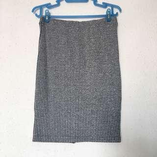 TEMT Grey Ribbed Bodycon Skirt