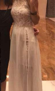 White halter lace dress
