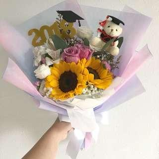 Sunflower with Rose and Mix Flowers / Graduation Bouquet