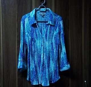 Cosmic Ocean Blue Green Blouse Buttondown Polo Top