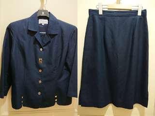 法國品牌〖JULLYER〗棉麻藍色套裝