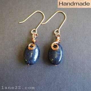 Dumortierite gemstone handmade earrings in rose gold and copper tone // blue oval earrings