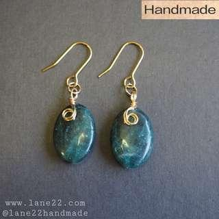 Apatite oval gemstone beads handmade earrings in gold tone// green oval earrings #1212