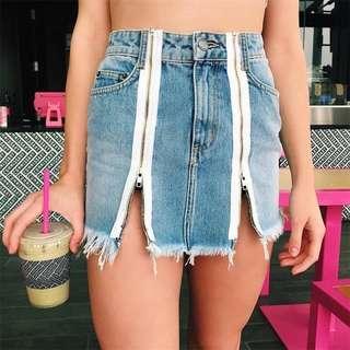 韓國入手 小性感味道拉鏈牛仔短裙