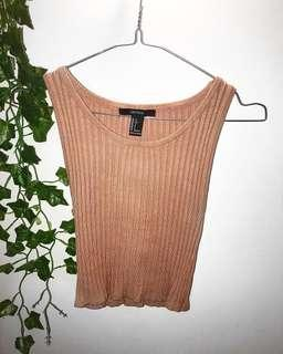 Peach ribbed crop - Size S - $10 + postage 💕