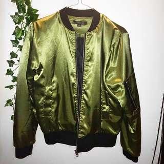 Shiny khaki bomber jacket - Size S - $20 + postage 💕