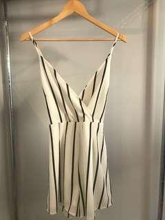 Boohoo White Wrap Playsuit (Size 10)