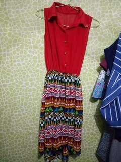 Dress tribal merah