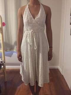 midi white halter neck dress