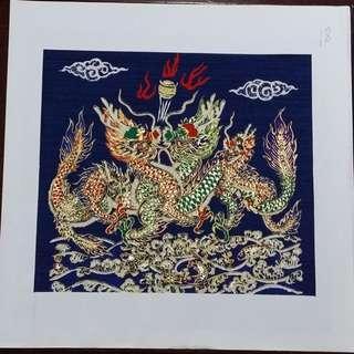 Machine made painting on Thai Silk