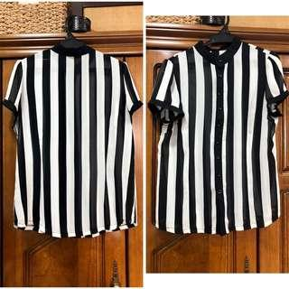 Office blouse Stripes black & white M