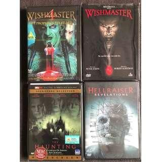 DVDs - Set of 4 (Wishmaster 4 / Wishmaster / The Haunting / Hellraiser - Revelations)