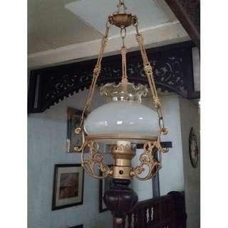 Antique Vintage SMALL pulley lamp chandelier (Indonesia)