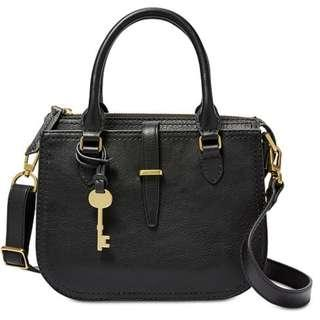 FOSSIL RYDER MINI SATCHEL BLACK LEATHER BAG RRP$329