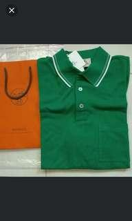 Hermes Polo-Tee (Green - Polo A Poche Col Raye) L Size