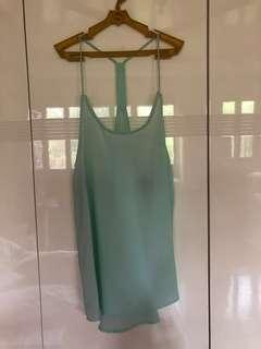 H&M Mint Green Sexy Back Chiffon Top