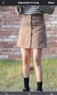 Light brown Camel Suede button down skirt