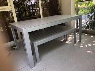 Outdoors set table and benches