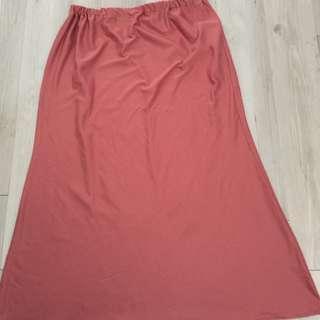 Skirt labuh merah coral