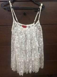 99 sale Bayo white lace see thru top
