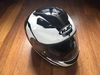 HJC CS-15 Full Face Helmet (White/Black/Carbon Fibre)