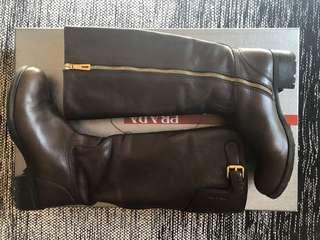 Prada Sport Brown Leather/Gold Accents Riding Boots
