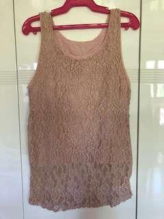 Blush Pink Lace Sleeveless Top