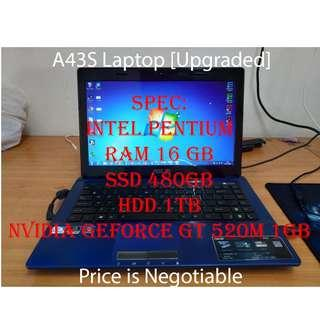 Asus A43S Laptop Upgraded