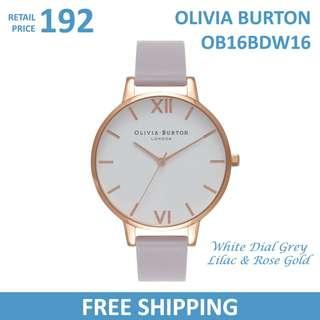 Olivia Burton Ladies Watch White Dial Grey Lilac & Rose Gold OB16BDW16