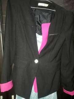 Jual blazer/jas hitam pink, bahan tebal,