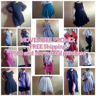 Free Shipping P500 and above total purchase