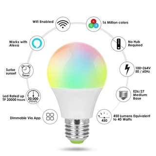 WIFI Smart Music Bulb 4.5W E27 RGB color Dimmable Support Amazon Alexa & Google Home IOS/Android APP Control AC85-265V